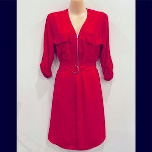 Express red button down dress